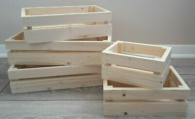 £3.99 • Buy Sturdy Shallow Wooden Crate Storage Box Hamper Basket