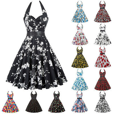 1950s Vintage Housewife Swing Pin Up Evening Party Cocktail Housewife TEA Dress • 25.70£