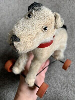 "Antique Steiff ?  Dog On Red Wheels Germany Black & White Mohair 7"" No ID CUTE! • 84.36£"