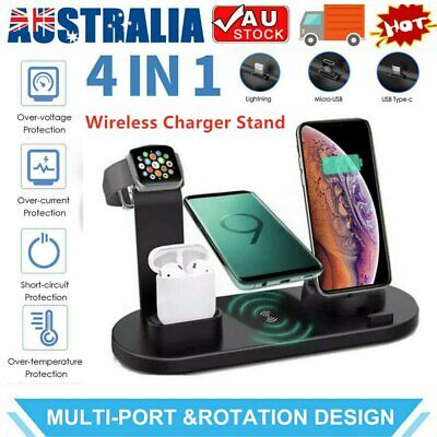 AU23.99 • Buy 4 In 1 Qi Wireless Charger Charging Dock Stand Station For IPhone Watch 3 Color