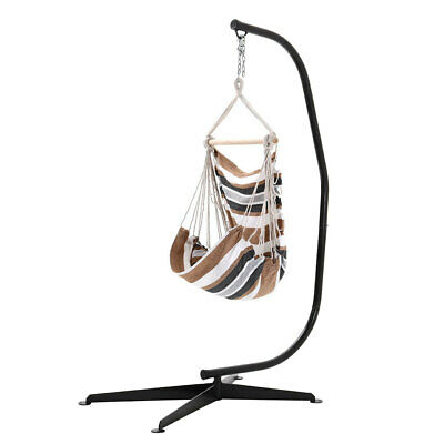 Hanging Hammock Rope Swing Chair With Stand Indoor Yard Garden Seat White&Brown • 159.59£