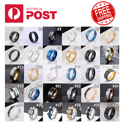 AU5.95 • Buy Titanium Stainless Men Women Fashion Universal Ring Rotatable Punk Classic Rings