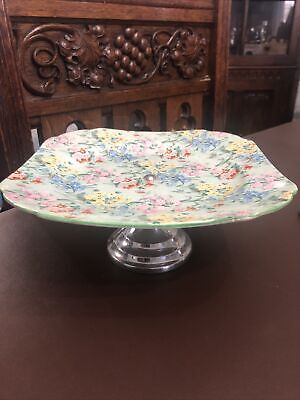 Rare Vintage Art Deco Shelley China Melody Cake Stand Pedestal Plate • 10£