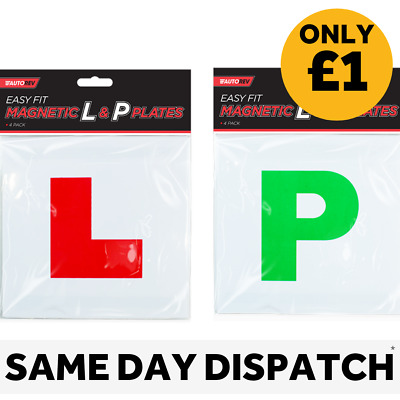 L & P Plates 4 Pack Magnetic Exterior Car New Learner And Passed Plates Easy Fit • 1£