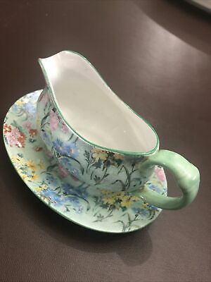 Rare Small Size Vintage Shelley China Melody Art Deco Sauce Boat & Oval Plate • 22£