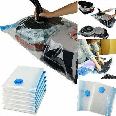 Transparent Strong Vacuum Storage Space Saving Bags Valve Compressed Air Bags • 7.09£