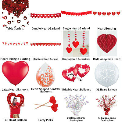 £2.99 • Buy Valentines Day Love Heart Decorations - Partyware Complete Selection