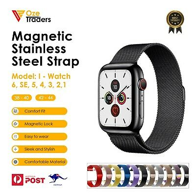 AU7.99 • Buy For Apple Watch Band Series 6 SE 5 4 3 2 1 IWatch Magnetic Stainless Steel Strap