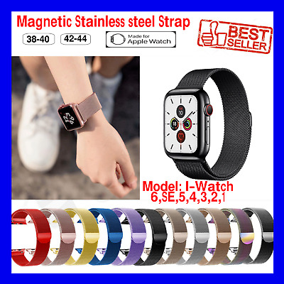 AU7.99 • Buy For Apple Watch Magnetic Stainless Steel Strap Band Series 6 SE 5 4 3 2 1 IWatch