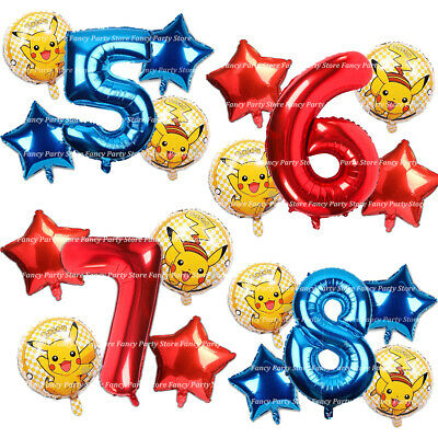 Pokemon Pikachu Birthday Balloons Party Decoration Age Number Foil Balloons Game • 0.99£
