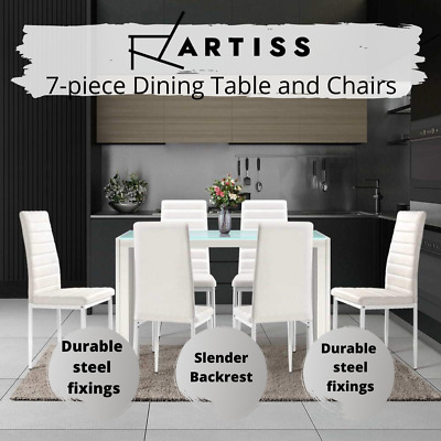 AU291.71 • Buy Artiss Astra 7 Pc Dining Table And Chairs Dining Set Tempered Glass Leather AU