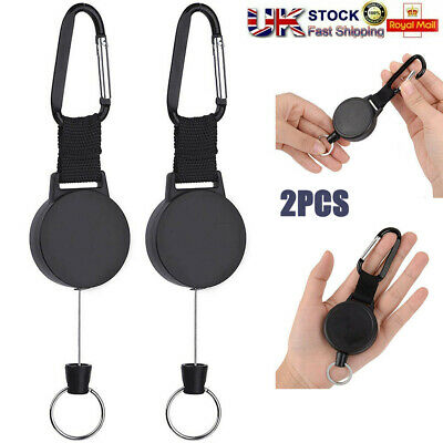 £4.99 • Buy 2xRetractable Stainless Steel Keyring Pull Ring Key Chain Recoil Heavy Duty Rope