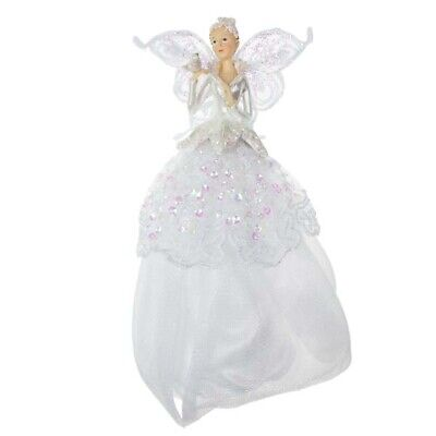 Christmas Tree Angel Fairy Topper Iridescent Sequin Trim 23cm • 13.95£