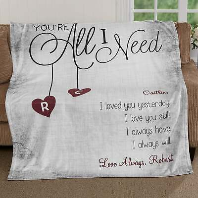 Customized Personalized Couple Lovers Blanket Valentine Wedding Anniversary Gift • 56.27£