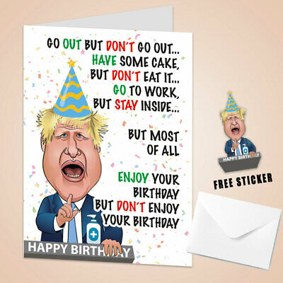 FUNNY BIRTHDAY CARD Stay Home Boris Johnson Lockdown Men Women Him Her Adult Kid • 3.79£