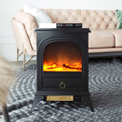 1800W Electric Fireplace Stove Heater Log Burning Flame Effect Living Room UK • 99.58£