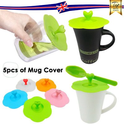 £4.99 • Buy 5pcs Cup Silicone Cover Lids Anti Dust And Airtight Mug Suction Seal Cap
