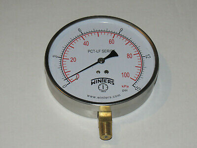 $29.99 • Buy T10 WINTERS PCT319LF Gauge,Pressure,4.5  Round 0 To 15 Psi