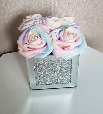 Artificial Unicorn Flowers Arrangements In Crushed Diamond Mirrored Cube Vase • 22.99£