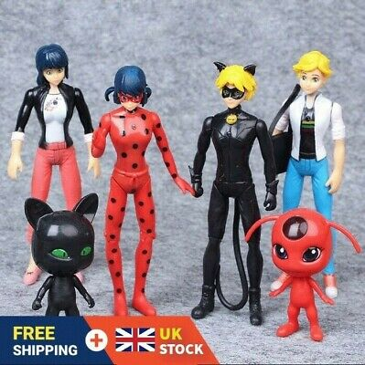 6pcs Miraculous Ladybug Tikki Noir Cat Plagg Adrien Action Figures Doll Toys Set • 10.69£