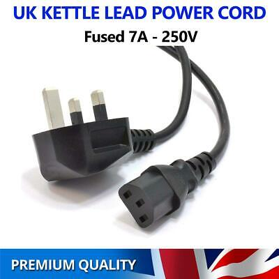 1M Kettle Lead Power Cable IEC C13 Cord 3 Pin Prong UK Plug Fuse PC Monitor TV • 5.99£