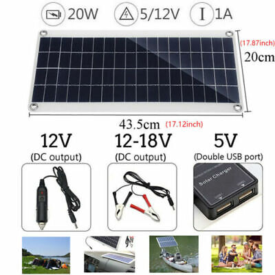 £18.49 • Buy 20W 12V Flexible Solar Powered Panel USB Battery Charger For Camping Car RV Boat