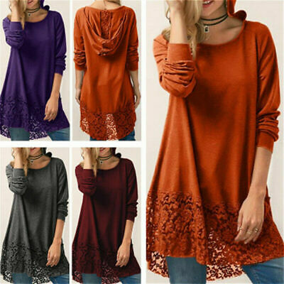 Plus Size Womens Long Sleeve Lace Blouse Pullover T Shirt Tops Hoodie Tunic Lady • 10.56£