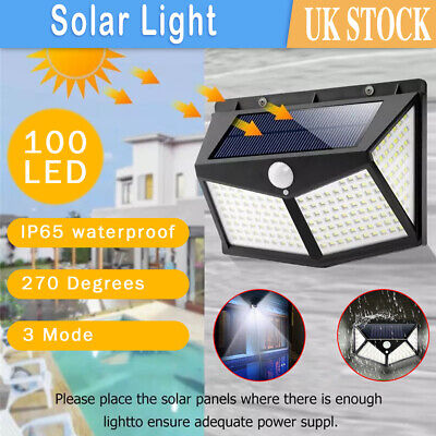 100 LED Solar Powered PIR Motion Sensor Wall Lights Outdoor Garden Security Lamp • 12.99£