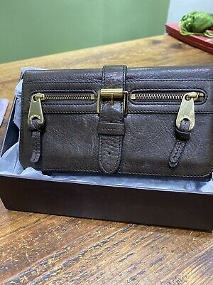 £145 • Buy Genuine Mulberry Mabel Wallet Purse Chocolate Grained Leather