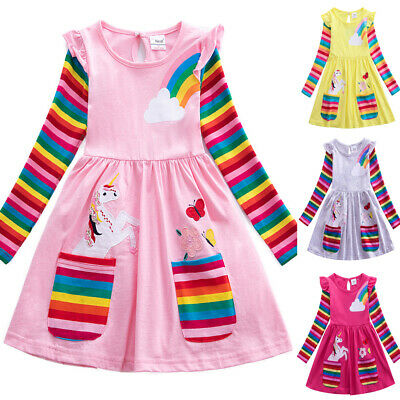 AU18.85 • Buy Kids Baby Girls Unicon Rainbow Dress Long Sleeve Party Pullover Dress 3-8 Years