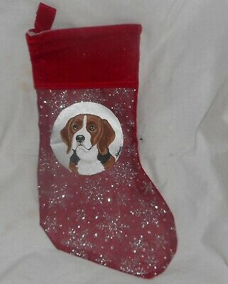 Beagle Dog Hand Painted Christmas Gift Stocking Decoration • 26.33£