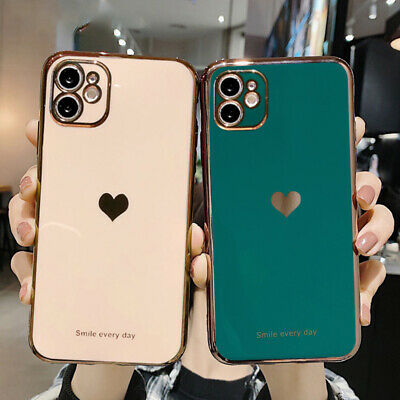 AU8.99 • Buy Shockproof Heart Plating Silicone Case Cover IPhone 12 11 Pro Max XS XR 7 8Plus