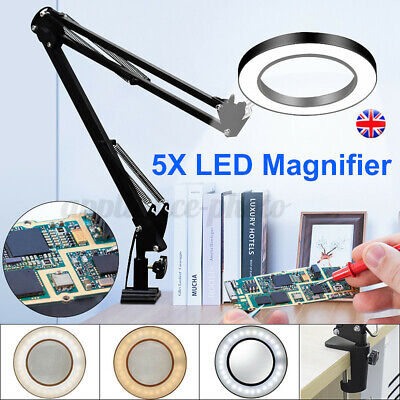 £18.59 • Buy Desk Table Top 5X Magnifying Glass Beauty Nail Salon Tattoo Magnifier Lamp Light