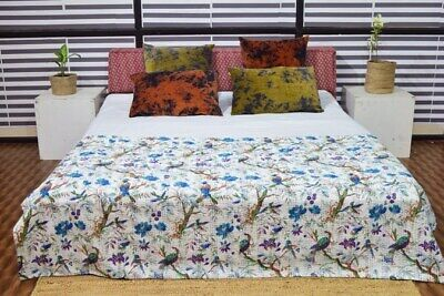 Indian Handmade Embroidery King Size Kantha Blanket Throw Bedspread 90  X 108  • 49.99£