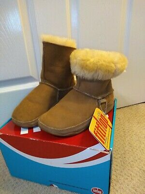Fitflop Mukluk Boots Size 2, Chestnut, Fur Lined , New Only Tried On, (kids) • 20£