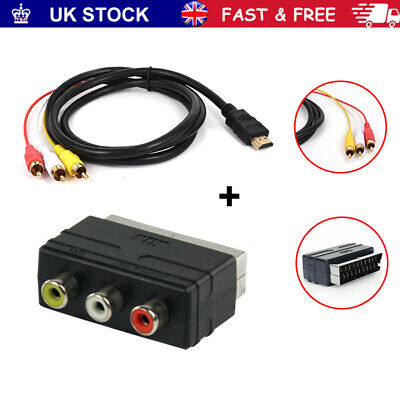 HDMI Male S-video To 3 RCA AV Audio Cable 1080p W/SCART To 3 RCA Phono Adapter~ • 8.63£