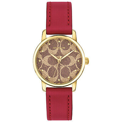 $ CDN107.78 • Buy Latest COACH Women GRAND 28mm Gold Case Red Leather Strap Watch 14503401