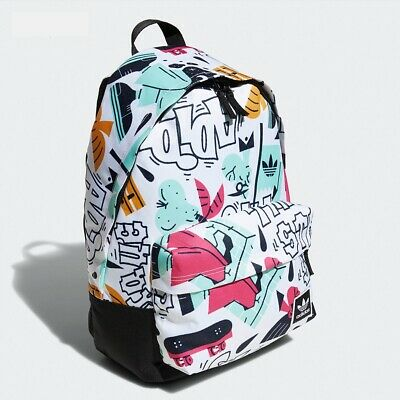 AU44.95 • Buy Adidas Printed Pattern Backpack Travel School Bag - White