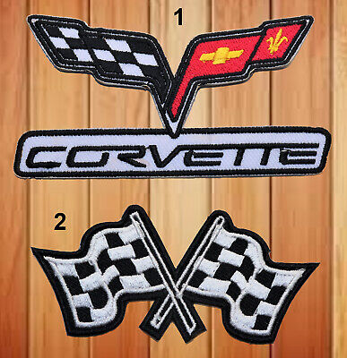 £2.29 • Buy Corvette Motor Sports Checkered Flag Embroidered Iron/sew On Patch Badge Logo
