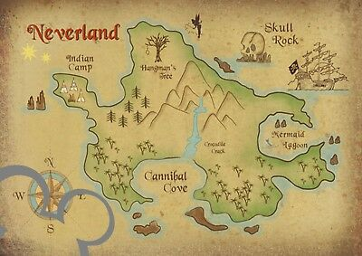 £3.60 • Buy Disney Peter Pan Neverland Map Art Print A4, Poster, Picture, Nursery, Baby Gift