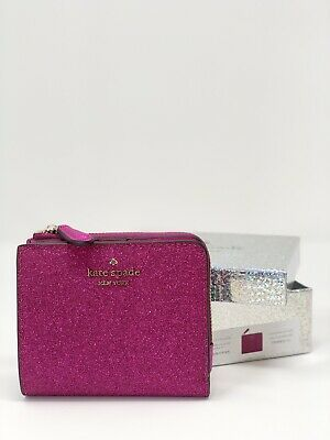 $ CDN68.06 • Buy Kate Spade Lola Glitter Boxed Small L-Zip Bifold Wallet Convertible Hot Pink