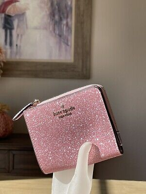 $ CDN70.15 • Buy Kate Spade Lola Glitter Boxed Small L-Zip Bifold Wallet Rose Pink Gift Box