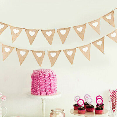 Home Hessian Bunting Vintage Burlap Love Heart Party Garland Wedding Decor Flags • 7.89£