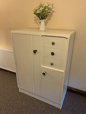 £150 • Buy Vintage Mid Century G Plan Tall Boy Gents Wardrobe & Drawers. Upcycled In Cream