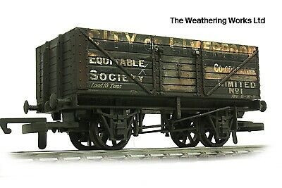 Dapol 7 Plank BR Ex PO Open Coal Wagon *PRO WEATHERED LOOK** • 14.99£