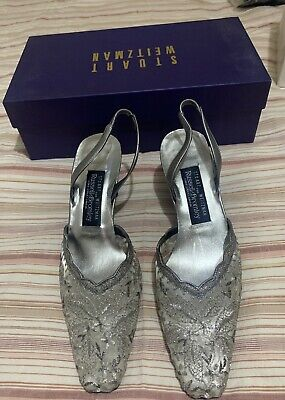 Stuart Weitzman For Russell & Bromley Pewter Leather Evening/Dance Shoes 5.5 • 20£