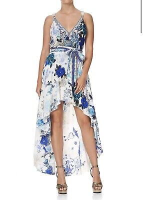 AU220 • Buy CAMILLA FRANKS White Side Of The Moon High Low Skirt With Waist Tie XS Silk $449