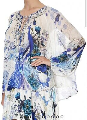 AU240 • Buy CAMILLA FRANKS White Side Of The Moon Tie Front High Low Hem Blouse S/M RRP499