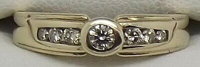 AU510 • Buy Solid 9ct Yellow Gold Bezel Set Natural Diamond Dress/engagement Ring-size N1/2
