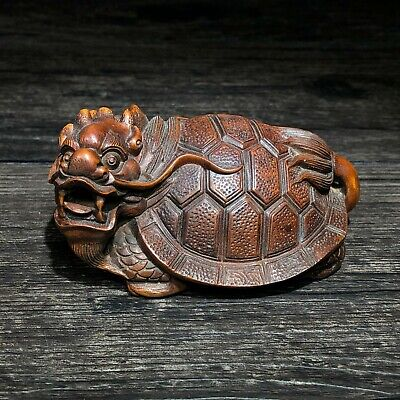 £39 • Buy Collectible Old Boxwood Japanese Netsuke Dragon Turtle Ornament Vintage Statue